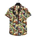 T-Shirt Herren Atmungsaktiv Mode Druck Herren Freizeitshirt Kent-Kragen Knopfleiste Kurzarm Herren Strandhemd Komfortabel Hawaii Trend Herren Shirt E-03 XXL