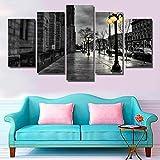 XUEI Kunstdrucke Moderne Druck Malerei Hintergrund Dekoration Modulare 5 Teiliges Wandbild/Rollende Wogen auf dem Poster Wandkunst Leinwand Creative Geschenk Kunstwerk 150x80 cm