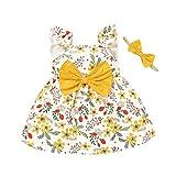 Styledress Kleinkind Kind Baby Mädchen Kleid Casual Bogen Sonnenblume Baumwolle Ärmelloses Button Rüschen Kleid + Stirnband Sommer Babykleidung Outfits Set