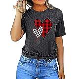 Buby Frauen Herz Kariertes Muster Print T-Shirt Kurzarm T-Shirts Rundhalsausschnitt Tunika Tops Loose Fit Bluse Teen Girls Oversized Quick Dry Shirts Sommer Basic Tops Blusen