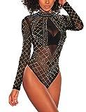 SEBOWEL Damen Sexy Strass Mesh Body Club Party Langarm Bodysuit Bluse Tops, #7 Black, M