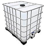 1000l IBC Wassertank auf PE-Palette (Food) REBO NEUWERTIG Deckelgröße DN 225, Armaturgröße S100x8 Grobgewinde