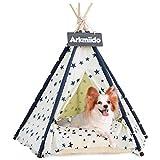 Arkmiido Haustierzelt mit Kissen & Tafel, Tipi-Haus für Hund und Katze, Haustierbett, hundetipi (Beige)