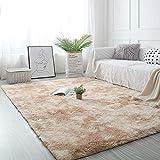 Pauwer Fluffy Thick Area Teppich Teppich für Schlafzimmer Wohnzimmer Ultra Soft Anti-Rutsch-Boden Teppich Teppich Moderne Indoor Plüsch Shag Teppiche für Zuhause (Light Khaki, 120x160cm)