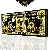 DotComCanvas® XXL Gold Dollar Geldschein Wandbild   Leinwand direkt Aufhangbereit Money Never Sleeps (120 X 60 cm)