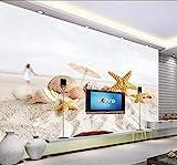 Fototapete 3D Tapete Strand Seesterne Meerblick Fototapete 3D Effekt Wandtapete Vliestapete Wandbilder XXL Wanddeko Tapeten