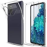 LK Kompatibel mit Samsung Galaxy S20 FE 4G/5G Hülle mit 2 Stück Displayschutz Schutzfolie, Klar Schutzhülle Transparent TPU Silikon Handyhülle Durchsichtige Case Cover, Crystal Clear