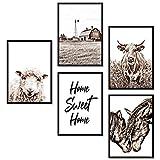 ZAUBERBILD Premium Poster Set Wandbild   Landhausstil Bauernhof   5x DIN A4 für Wohnzimmer