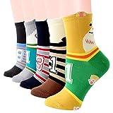 BISOUSOX Bunte Socken Damen Baumwollsocken für Frauen Süße Mode Socken mit Liebe,Essen,Tiere Muster Valentinstag Geschenke