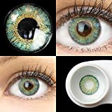 GLAMLENS Flora Türkis blau + Behälter | Sehr stark deckende natürliche blaue Kontaktlinsen farbig | farbige Monatslinsen aus Silikon Hydrogel | 1 Paar (2 Stück) | DIA 14,50 | Ohne Stärke