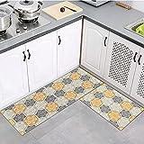 OPLJ Retro Druck Serie Küche Teppich Eingangstürmatte Badezimmer Waschküche Wohnzimmer Bodenleiste Teppichmatte A5 60x180cm