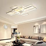 Home Equipment LED Living Room Ceiling Lighting Bedroom Modern Decor Flush Mount Ceiling Lamp Creative Square Design Chandelier Dimmable Rectangle Fixture Remote Control Kitchen Island Dining Table