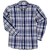 Blau-Kariertes Langarmhemd von Big-Basics in großen Größen bis 8XL, Größe:8XL