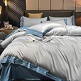 Cactuso Bettbezug 135 X 200 4teilig,Satin Seide Duvet Ist äRmel, ReißVerschlussöFfnung - QualitäT Super Soft Advanced 4 Bettbedarf Kollektion-L_220 × 240 cm (87 × 94 Zoll) 4 StüCke