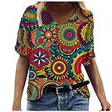 YinGTral Damen Sommer Tops Bluse Mode Casual Bequem Kurzarm T-Shirt Oberteile Frauen gedruckt Kurzarm T-Shirt mit Rundhalsausschnitt Casual Tee Tops