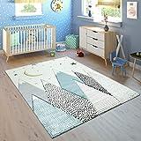 Paco Home Kinderteppich Kinderzimmer Pastell Blau Grau Berg Mond Sterne Strapazierfähig, Grösse:140x200