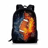 ZHANGWENJIE Netter Rugby 3D Print Rucksack für Mädchen Jungen Kinder Schultaschen Set Custom Kid Schulrucksack Student Book Bag Kindergartentasche 44*28*13cm 2