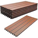 VINGO WPC Holz Kunststoff Fliesen,30x60cm,6 Stück,braun,Terrassenfliesen Klickfliesen Balkonfliesen Wasserdicht,korrosionsbeständig und einfach zu installieren