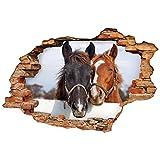 Sticker 3D Effekt | Wandaufkleber Pferd - Tapete Dekoration optische Täuschung Raum und Wohnzimmer | 60 x 90 cm