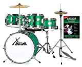 XDrum Junior Kinderschlagzeug Emerald Green Sparkle - Kompaktes Juniorset - Geeignet von 3-6 Jahren - Kinderleicht zusammengebaut - Inkl. Hocker, HiHat, Becken, Sticks, Schule und Stimmschlüssel- grün