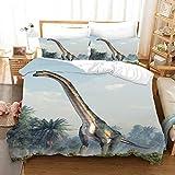 YUEWEIWEI Jurassic Bettdecke, 3D-Druckdinosaurier-Bettwäsche 200x200, (1 Quiltcover + 2 Kissenbezüge) Steppdecke für Kinder, Jungen und Mädchen (Size : 200x200cm)