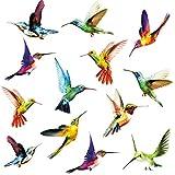 KAIRNE 24 Stücke Fenstersticker Vögel,Vogel Fensteraufkleber Transparent, Kolibri Fenster Aufkleber,Tiere Wandtattoo Wandaufkleber für Wohnzimmer Schlafzimmer Wanddeko, Schutz vor Vogelk