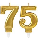 Carpeta 2X Zahlenkerzen * Zahl 75 * in Gold | 11cm x 9cm groß | Deko Goldene Hochzeit Jubiläum Geburtstagskerze Kerze Geburtstag