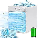 Mobile Klimaanlage,4 in 1 Klimageräte Mini Luftkühler Klein Persönliche Wiederaufladbar Air Cooler USB Ventilator Luftbefeuchter mit Nachtlicht Tragbare Verdunstungskühler für Zuhause und Büro