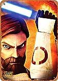 ALIALI KFQCIO OBI-Wan Clone Wars Charakter Poster Retro Blechschild Wanddekoration Familie Hof Kaffee Bar Restaurant Gas Shop 30,5 x 20,3