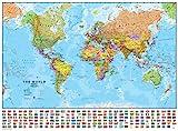 Maps International - Weltkarte mit Flaggen – laminiert – 84,1 cm (B) x 59,4 cm (H)