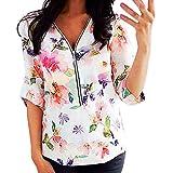 V-Ausschnitt Bluse Damen Langarm Sweatshirts mit Blumenmuster Frühling Sommer Oberteile mit Reißverschluss Lockere Casual Bluse T-Shirt