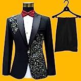 ZLDGYG ZMMDD DREI Teile Set Anzüge Herrensänger erbringen Bühnenshow Pailletten bestickte Blumen-Hochzeitsanzug (Color : Black, Size : Size S)