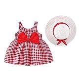 Babykleidung Mädchen Sommer,Baby Mädchen Kleider Regenbogen Druck Flare Rock Kleinkind Mädchen Einteiliges Kleid Hut Kleidung Outfits 6M-3Y Baby Kleidung Mädchen S