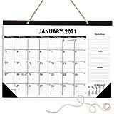 Schreibtischkalender 2021 mit Erinnerungsnotizen und Julianischem Datum, 43,2 x 30,6 cm, klassischer schwarzer Tischkalender
