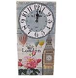 Marabella City Clocks große Wanduhr London od. Paris Uhr bunt 30 x 60 cm batteriebetrieben, Motiv:London