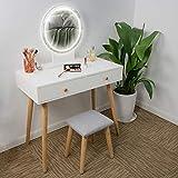 Ezigoo Frisierkommode-Set mit LED-Leuchten Spiegel - Weißer Schminktisch mit 2 Schubladen, gepolstertem Hocker und Spiegel mit Einstellbarer Helligkeit für das Schminkschlafzimmer