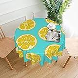 Runde Tischdecke aus Polyester, Wasserfarben, gelb, Zitronengelb, weich, waschbar, für Esszimmer, Küche, Partys, Picknick, 152 cm
