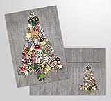 10 Weihnachtskarten'BUNTER WEIHNACHTSBAUM' mit Umschlag/Kuvert - 10 St. gleiche, nostalgische Klappkarten für Weihnachten im Set mit passenden Umschlägen/Kuverts und buntem Christbaum-Motiv (11002)