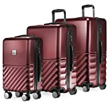 HAUPTSTADTKOFFER - Boxi - 3er Koffer-Set Trolley-Set Rollkoffer Reisekoffer TSA, 4 Rollen, (S, M & L), Burgund