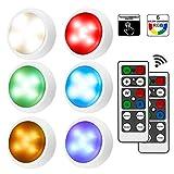 iKALULA Schrankleuchten mit Fernbedienung, RGB Schrank Lichter 6er LED Schrankbeleuchtung Dimmbar LED Nachtlicht Schranklicht USB Aufladbar Kabinett Beleuchtung 16Farben für Kleiderschrank Küche Flur