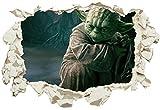 Unified Distribution Meister Yoda - Wandtattoo mit 3D Effekt, Aufkleber für Wände und Türen Größe: 92x61 cm, Stil: Durchb