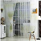 EElabper Gardinen Blume gedruckt Vorhänge Wohnzimmer Vorhang Gardine Transparent Fenster-Vorhang Grün 100x200cm