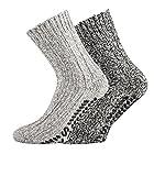 TippTexx 24 3 Paar superwarme ABS-Stopper-Norweger-Socken EIN ECHTER HAUSSCHUH-ERSATZ (Grau Töne, 43/46 EU)