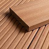 HORI® Bangkirai Terrassendiele Premium Komplettset Massiv Diele I Kombi Profil I Fläche: Muster I Muster Dielenläng