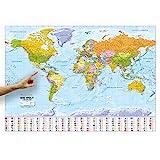 ORBIT Globes & Maps - Weltkarte XXL - Top-Aktuell 2021, Druck Februar 2021, deutsch, 136 x 96 cm, Maßstab 1:30 Mio mit seidenmattem Schutzlack inkl. Flaggenleiste