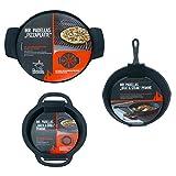 ACTIVA Pfannen Set Nr. 5, Set 3 teilig, Pizzaplatte & Back Grill Pfanne & Brat Steak Pfanne