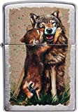 Zippo Wolf and Pup Design Feuerzeug, Messing, 5,83,81,2