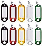 30 Stück Schlüsselanhänger zum Beschriften, Schlüsselschilder Kunststoff mit Ring auswechselbare Etiketten in schwarz, rot, gelb, weiß, grün
