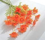 SWECOMZE10 Stücke Künstliche Gänseblümchen, Kunstblumen Plastikblumen Deko, Unechte Blumen für Vase Balkon Herbstdeko Party Büro Hochzeit (Orange)