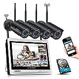 DEATTI 8CH 1080P Überwachungskamera Set Aussen WLAN mit 12 Zoll LCD Monitor, Funk NVR Überwachungssystem mit 4X 2.0MP WLAN IP Kamera, Videoüberwachung, 1TB Festplatte